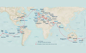 World Map showing our world cruise itinerary
