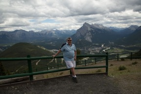Andy on top of Mt Norquay with Banff and Bow River in the background
