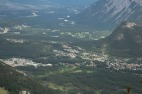 Banff with the Bow River snaking along the valley in the background