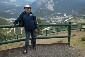 Judi at the top of Mt Norquay with Banff in the background