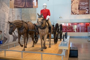 First display showing a replica gun carriage that was hauled West by the Mounties, as they claimed additional lands