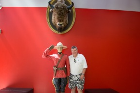 Andy by the Mountie in the entrance foyer