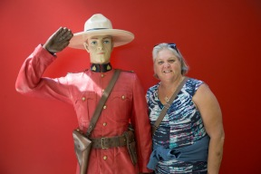 Judi by the Mountie in the entrance foyer