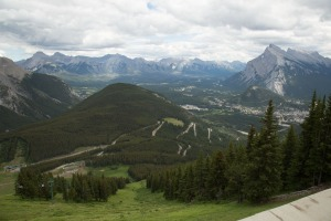 Road snaking up the hill from Banff to Mt Norquay base station
