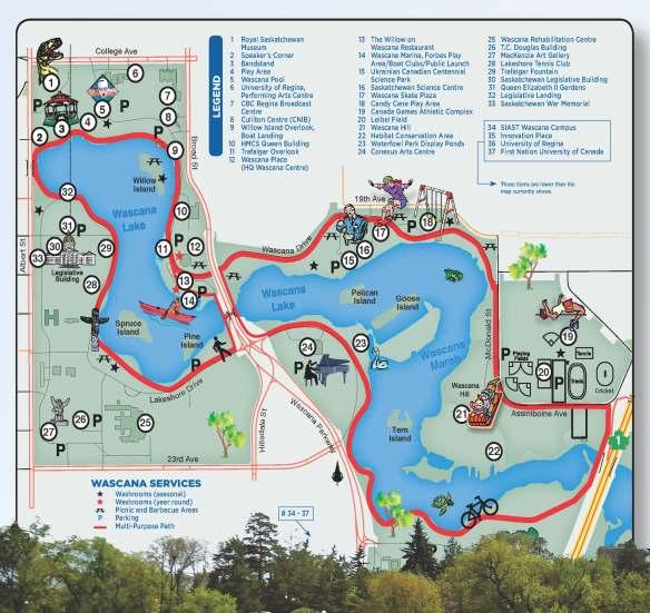 Map of Wascana Park