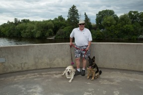 Andy and the dogs at one of the lookouts