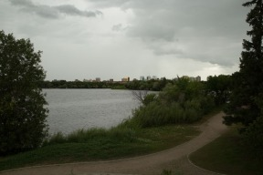 Proximity to Regina downtown with office towers at the edge of the park