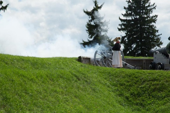 Firing the small cannon