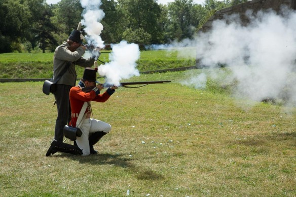 Firing the muskets