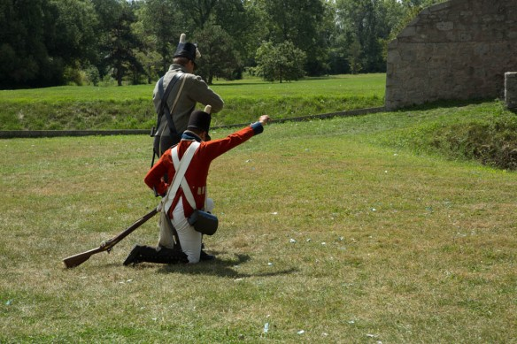 Fort Erie reloading muskets after first firing