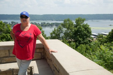 Judi at the Mississippi River scenic lookout on Hwy 52