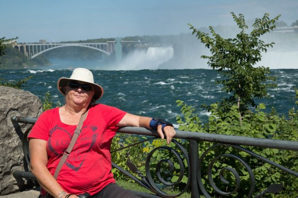 Judi with the Falls and Rainbow Bridge in the background