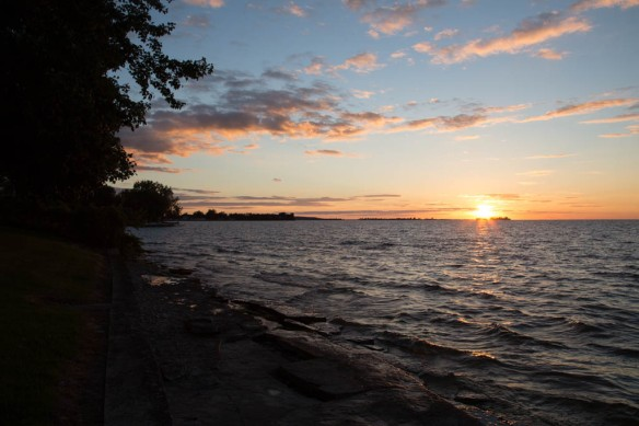 Looking along the lake shore at sunset