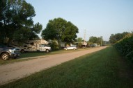 Looking along the road between us and the corn field at Albert Lea KOA