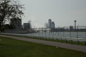 Niagara River side of the park with great view of the spray from the Falls