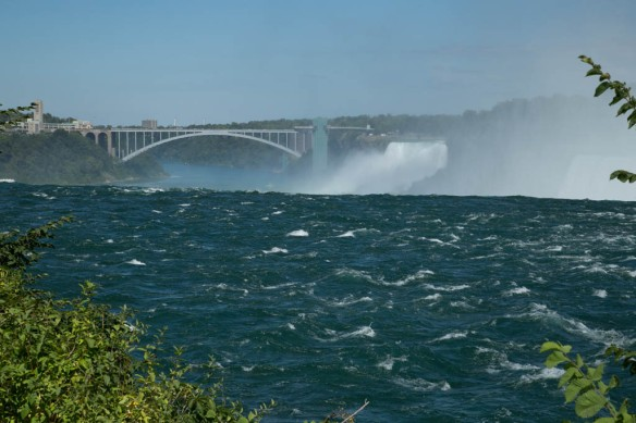 Looking down towards the Canadian Falls and the Rainbrow Bridge