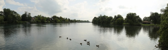 Panorama of the peaceful Welland River from Kings Bridge Park