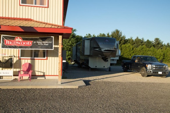 Parked at Redwood dealer Hitch n Go RV in Delhi Ontario