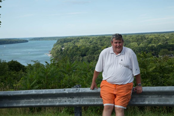 Queenston - Andy at a viewpoint with lower reaches of Niagara River in the background