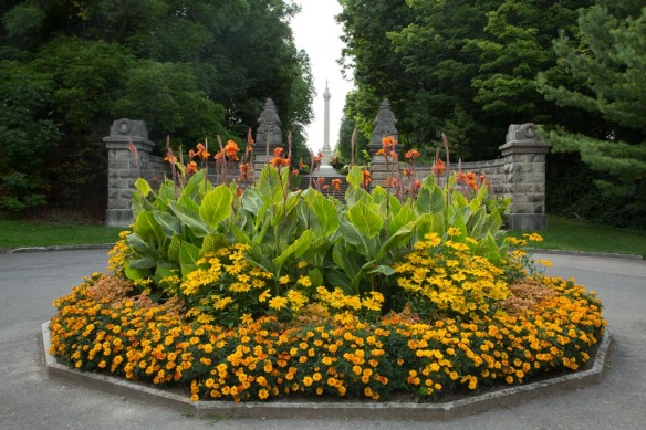 Queenston Heights Park - flower garden with Brock Monument in the background