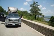 Truck and trailer at the Mississipi River lookout