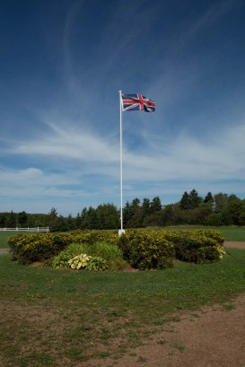 Avonlea Village Union Jack flying from main flagpole