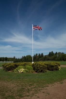 Avonlea Village Union Jack flying from main flagpole