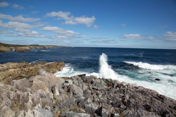 Capr Breton coastline with surf pounding ashore at Louisbourg lighthouse