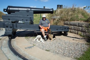 Halifax Fortress with Andy and the dogs at one of the cannons