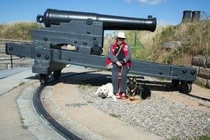 Halifax Fortress with Judi and the dogs at one of the cannons