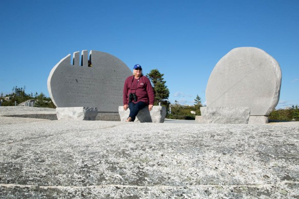 Judi sitting at the Swissair flight 111 memorial