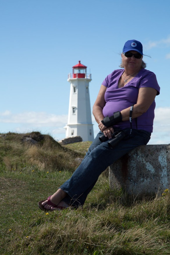 Judi with Louisbourg lighthouse in the background