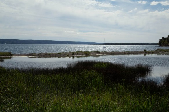 Looking across Lake Bras D'Or towards Big Pond and Rita's Tea Room