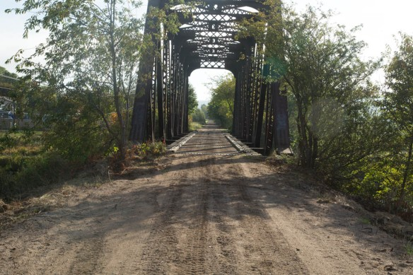 Old railway trail behind campground crossing Annapolis River