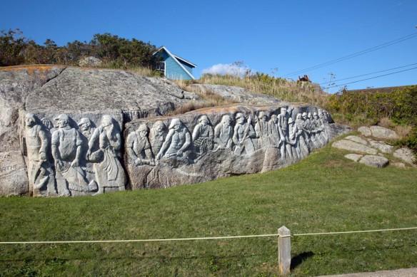 Peggys Cove deGarthe fisherman memorial hand carved in granite 100 feet long