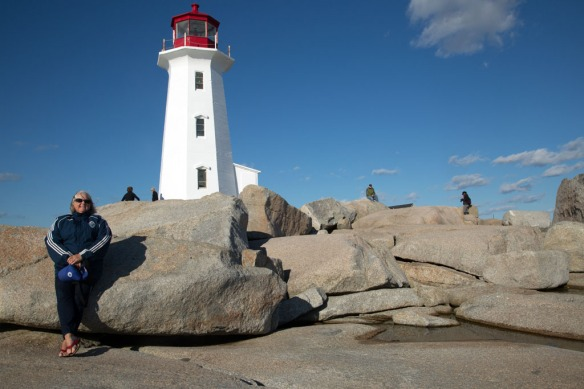 Peggys Cove Judi in front of the lighthouse