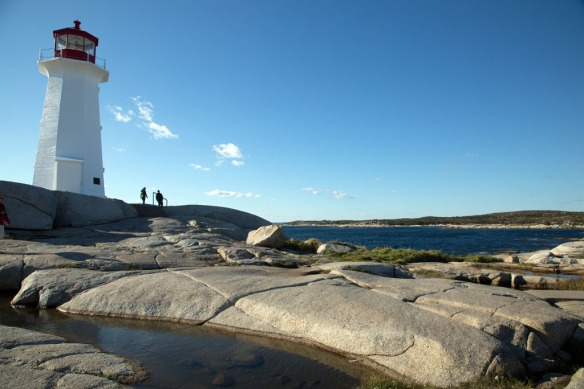 Peggys Cove lighthouse from rocks by the water