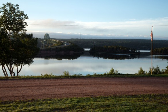 Sunrise at North Sydney KOA with reflections on Great Bras D'Or