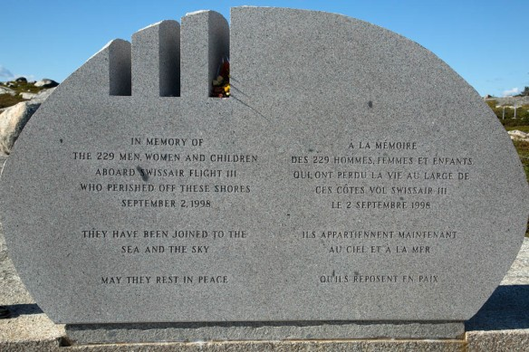 Swissair flight 111 memorial with carved slits pointing to the crash site