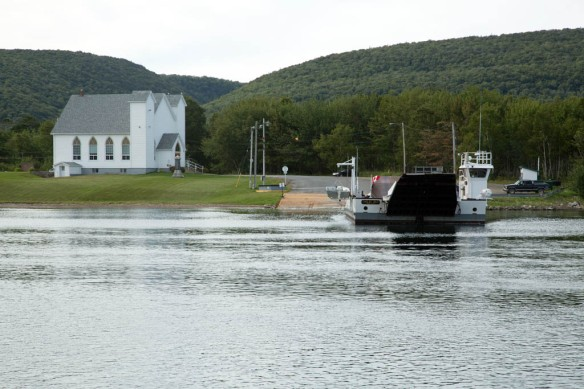 The short hop across Little Narrows on a cable ferry