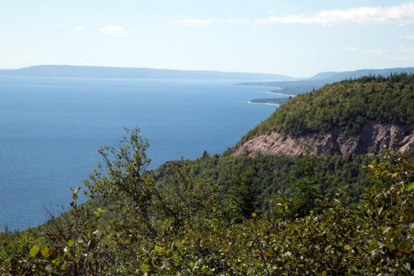 View of the coast from Cape Smokey Provincial Park