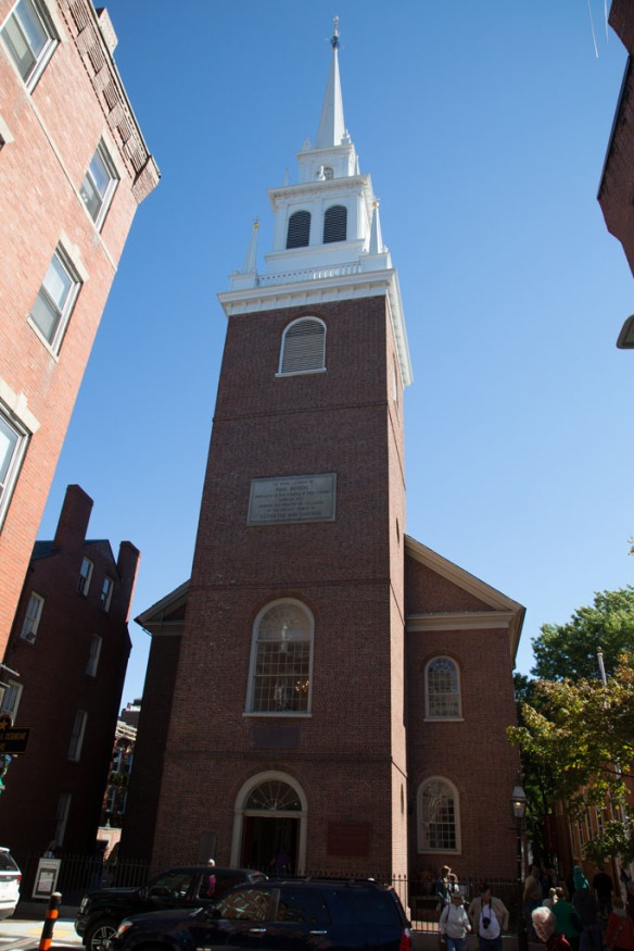 Old North Church where they hung lanterns when the British invaded