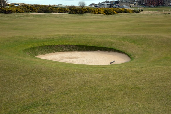 hidden bunker to left of 17th fairway