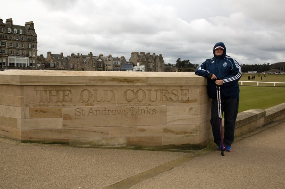 Judi at the Old Course sign