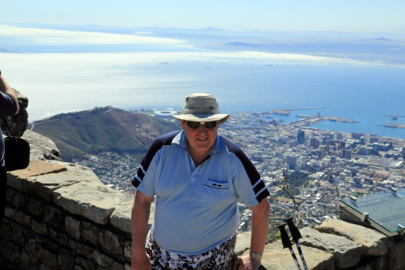 Andy with Cape Town in the background from atop Table Mountain