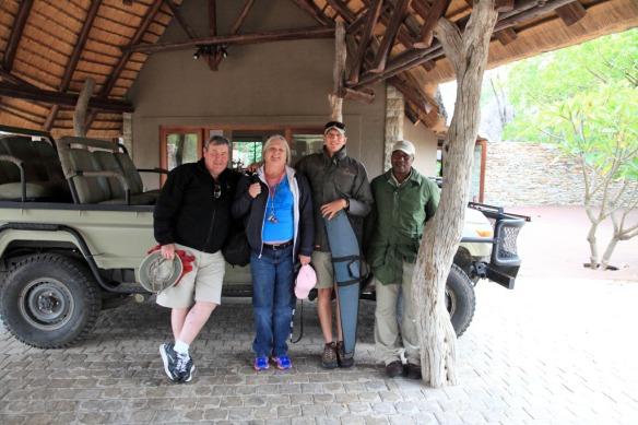Andy, Judi, Cedric and Derek with safari vehicle