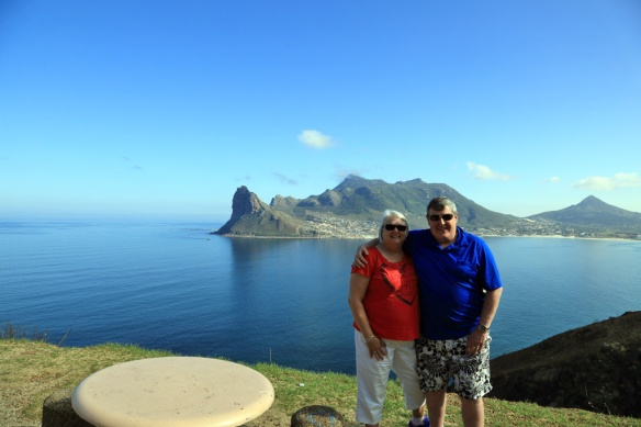 Andy & Judi at the Chapman's Peak Drive lookout with Hout Bay in background