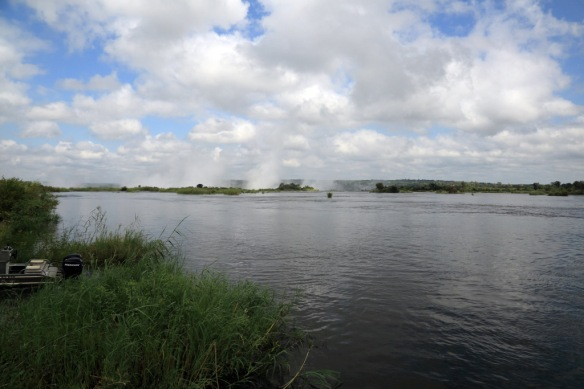 View down the Zambezi River from the Royal Livingston