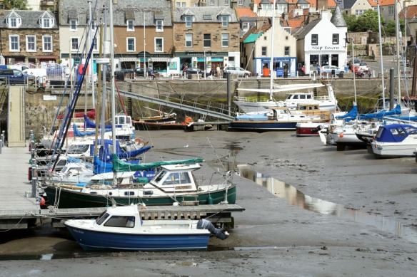 Anstruther Fish Bar from across the harbour at low tide