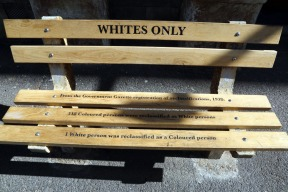 Bench displayed in front of old high court building on Queen Victoria Street